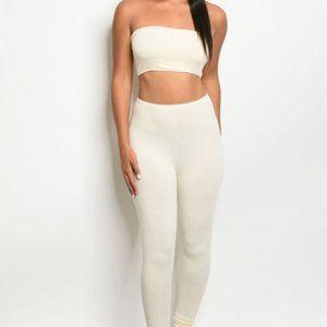 New Cream Ivory Stretch Soft Tube Top Pants Set S